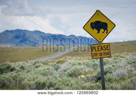 Bison buffalo sign in natural open wild plains setting