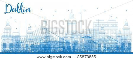 Outline Dublin Skyline with Blue Buildings. Vector Illustration. Business travel and tourism concept with historic buildings. Image for presentation, banner, placard and web site.