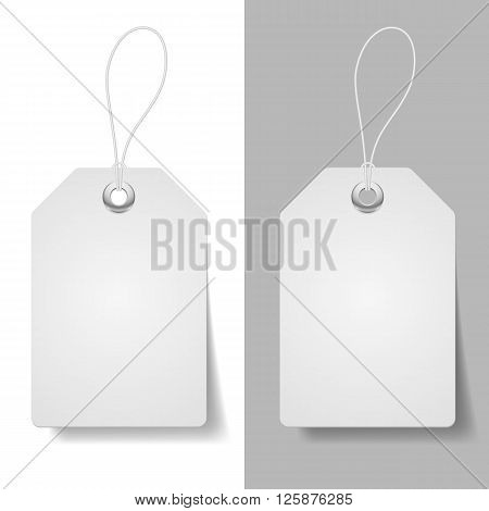 White blue price tags on white and grey background