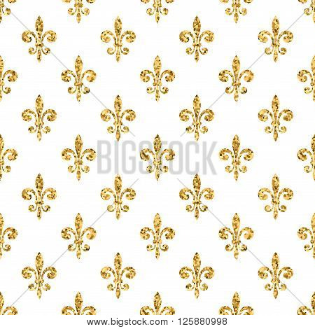 Golden fleur-de-lis seamless pattern. Gold glitter and white template. Floral texture. Glowing fleur de lis royal lily. Design vintage for card wallpaper wrapping textile etc. Vector Illustration.