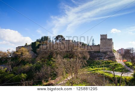 View of the Castello di Lombardia - Lombardy Castle Enna
