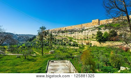 The Kidron Valley separates the Temple Mount from the Mount of Olives and contains many ancient tombs Jerusalem Israel.