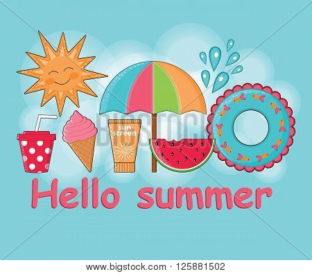 Summer day background vector.Summer poster.Summer Holidays.Beach holidays