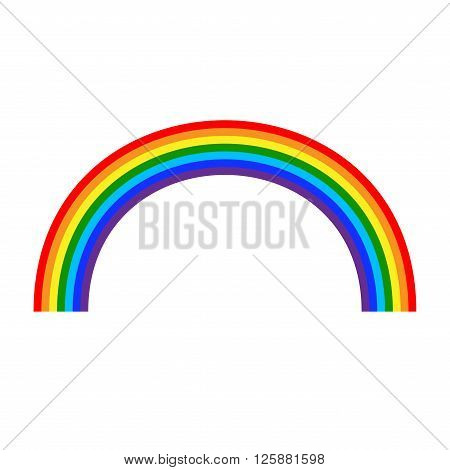 Rainbow icon. Shape arch cartoon isolated on white background. Colorful light and bright design element for decorative. Symbol rain sky clear nature. Flat simple graphic style. Vector illustration