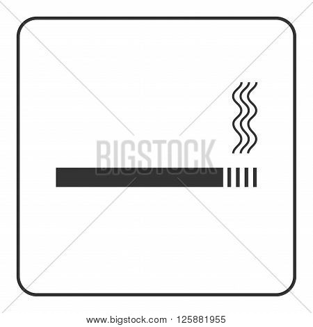 Cigarette icon with filter. Black sign isolated on white background. Symbol of smoke smoking bad habit and nicotine cigar tobacco. Graphic design pictogram. Flat modern style. Vector illustration.