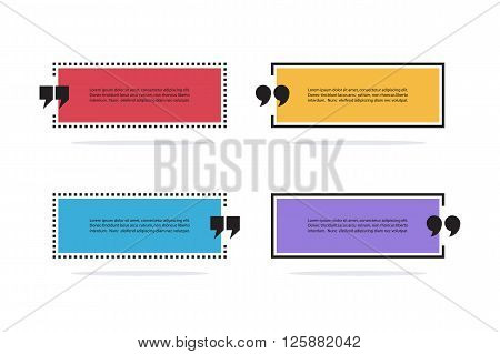 Set of color square quote text bubbles. Quotation mark speech bubbles. Set of quote sign icons. Quote blank template. Quote bubble. Empty template. Quote form. Vector illustration.