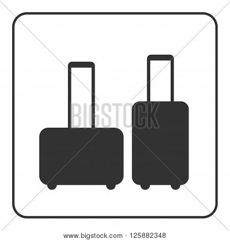 Suitcase icons. Black silhouette isolated on white background. Design element. Luggage sign. Symbol bag luggage and business travel work. Flat concept vacation or trip tourism. Vector Illustration