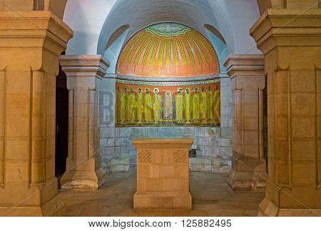 JERUSALEM ISRAEL - FEBRUARY 16 2016: The altar in crypt of the Dormition Church decorated with the mosaic icon on February 16 in Jerusalem.