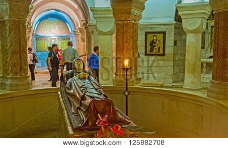 JERUSALEM ISRAEL - FEBRUARY 16 2016: The figure of the Dormition of Virgin Mary in the center of the crypt in Dormition Church on February 16 in Jerusalem.