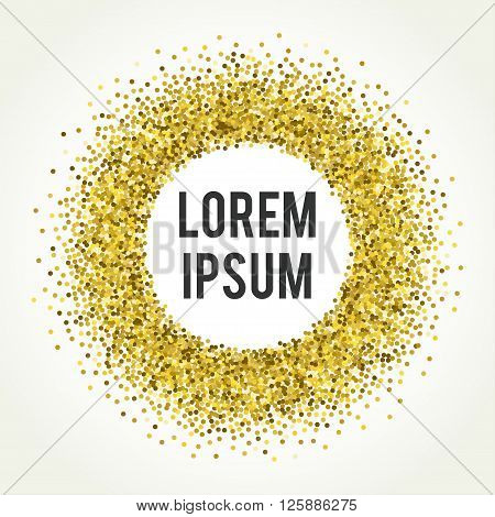 Gold sparkle vector template for your text. Template for your design.
