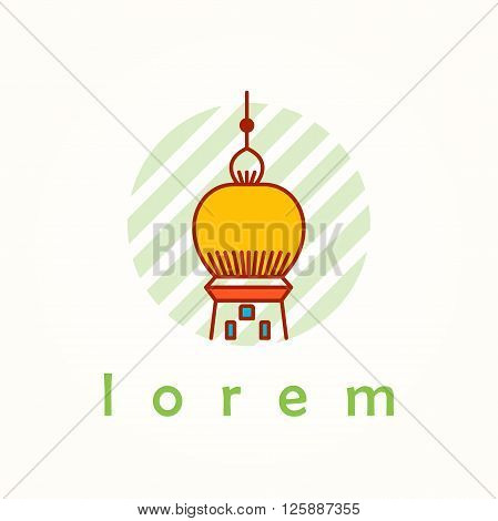 Tower and building thin line colorful vector icon. Cartoon logo, badge and label of cupola in antique, renaissance and byzantine style. Pike on striped background.