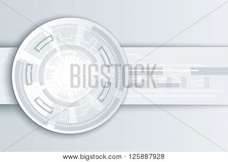 Vector futuristic technology, 3d white paper origami wheel on circuit board. Abstract vector Illustration hi-tech, engineering, digital telecoms, internet technology concept on light background.