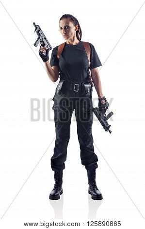 Woman Police Officer Is Holding 2 Guns. Isolated On White.