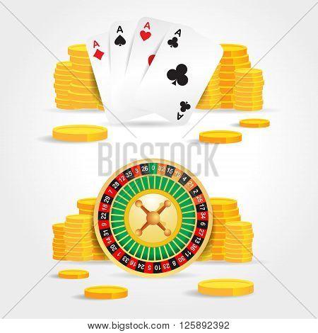 casino roulette money poker cards game set