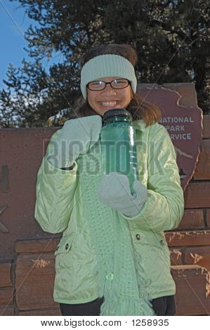 Girlwithfrozenwaterbottle