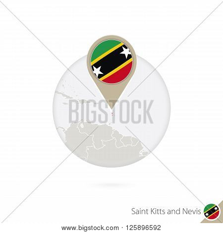 Saint Kitts And Nevis Map And Flag In Circle. Map Of Saint Kitts And Nevis, Saint Kitts And Nevis Fl
