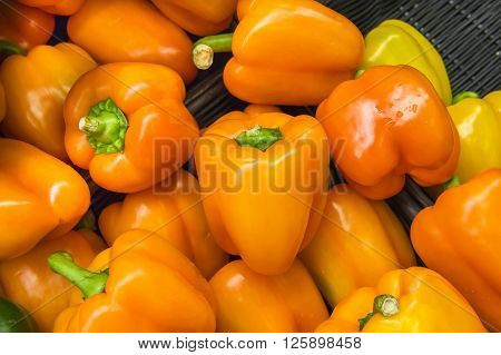 Fresh Orange Peppers From Market Shelves Real With Flaws And Bru