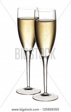 Full View Of Two Glasses  Of White Wine