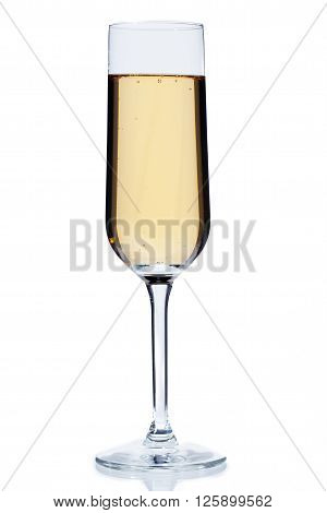 glass full of alcoholic beverage isolated on a white background