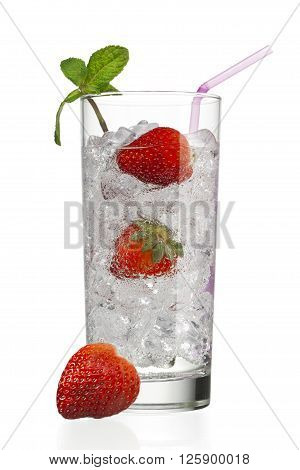 glass with ice cubes and strawberries isolated on a white background
