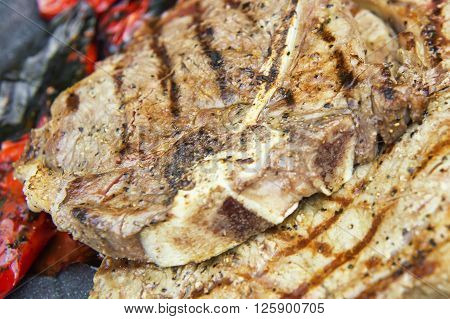 Grilled Bbq T Bone Steak With Roasted Red Peppers
