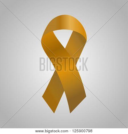 Cancer Ribbon In The Orange Gradient. Vector Illustration