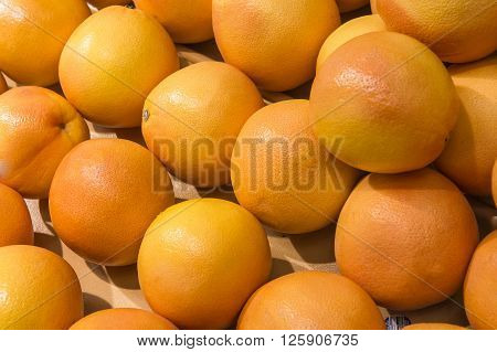 Orange Fruit Display From Market Shelves Real With Flaws And Bru