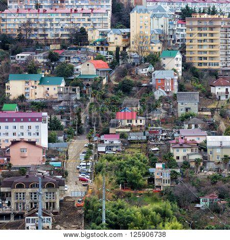 Housing estate in Sochi. Russia. Square photo