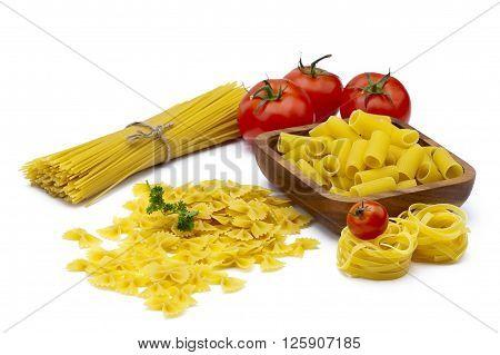 Image of pasta variations isolated on white background