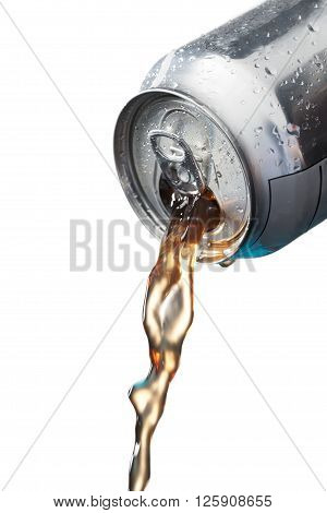 Image of pouring cola isolated on white background