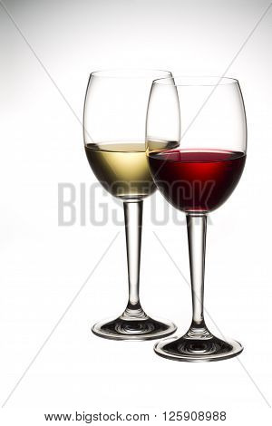red and white wine isolated on white background