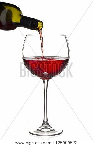 red wine bottle and wineglass isolated on white background