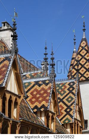 Beaune, France, June 3, 2013 : Roofs Of Hotel Dieu, The Ancient Hospital In Beaune