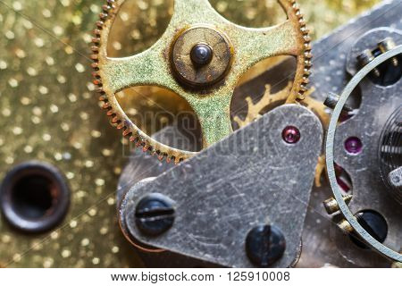 Clockwork Background. Close-up of Old Clock Watch Mechanism With Gears Macro