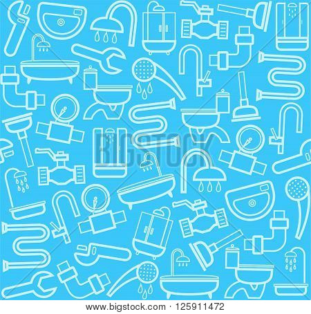 White line icons of plumbing and plumbing tools on a blue background. Vector flat background.