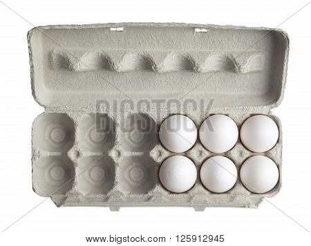 Top View Of Eggs In Egg Box