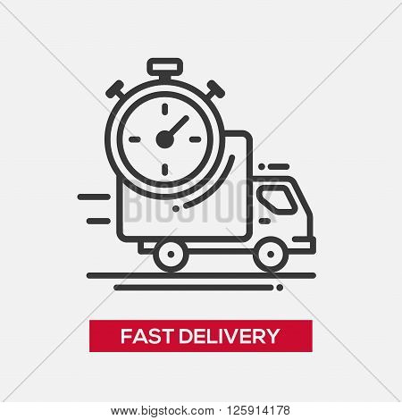 Business fast delivery service single isolated modern vector line design icon. Truck with stopwatch