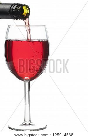 wine bottle and wine glass isolated on white background