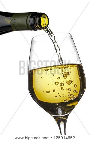 Wine Glass And Wine Bottle Against White Background
