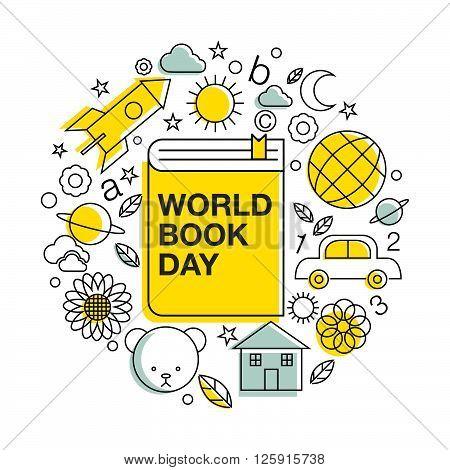 world book and copyright day logo icon line art design vector