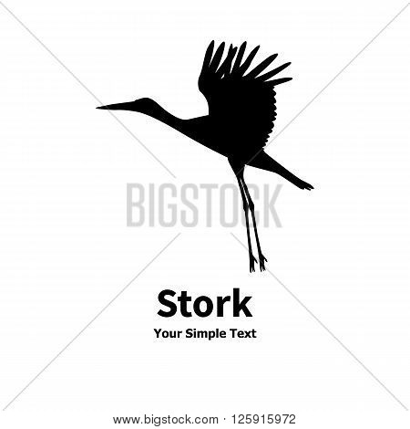 Vector illustration of a flying stork icon. Isolated silhouette on a white background.