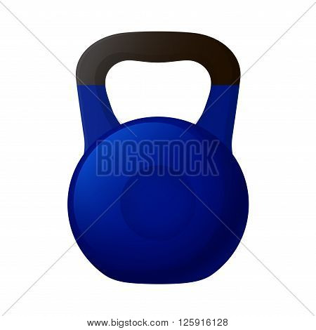 Vector illustration. Blue kettlebell with a matt black handle isolated on a white background