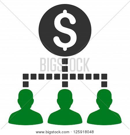 Money Recipients vector toolbar icon. Style is bicolor flat icon symbol, green and gray colors, white background, square dots.