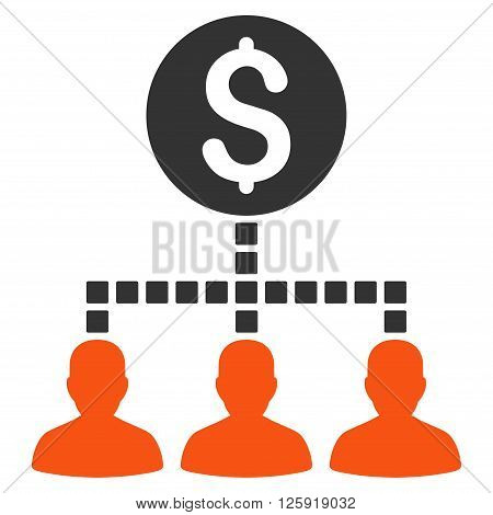 Money Recipients vector toolbar icon. Style is bicolor flat icon symbol, orange and gray colors, white background, square dots.