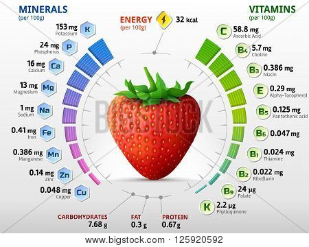 Vitamins and minerals of garden strawberry. Infographics about nutrients in strawberry fruit. Qualitative vector illustration for strawberry vitamins fruits health food nutrients diet etc. It has transparency blending modes gradients