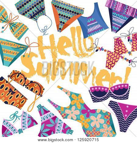 Hello summer! Background with women's multi-colored bathing suits. Template for card poster brochure. Vector illustration.