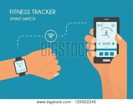 Smart Watch with  Fitness application for health. Synchronization of devices. Health test Illustration in flat style