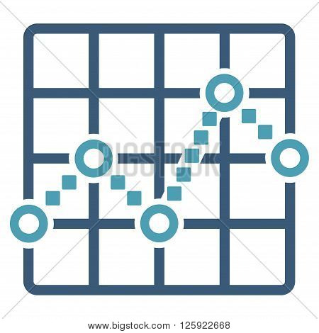 Line Plot vector toolbar icon. Style is bicolor flat icon symbol, cyan and blue colors, white background, square dots.