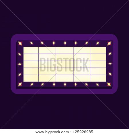 Marquee billboard advertising border with bulbs. Blank glowing billboard. Illuminating marquee billboard to advetise show. Marquee banner for festival entertainment. Vector Illustration