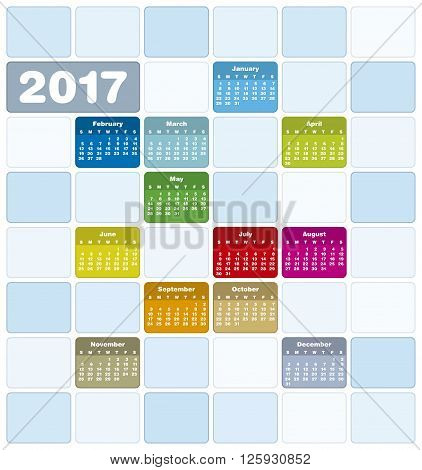 Colorful Calendar For Year 2017, In Vector Format.